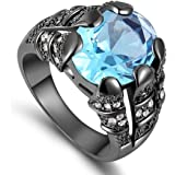 Men's Black Rhodium Plated Ring with aquamarine Gemstone Size US 11