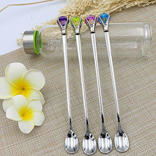 EQLEF® 4 PCS in acciaio inox manico lungo cucchiaio di