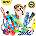 Parner Dog Rope Toys, 12pcs Puppy Chew Set Toy Durable Teeth Cleaning for Small Medium Large Dog Cotton Squeak Interactive Toys by Parner