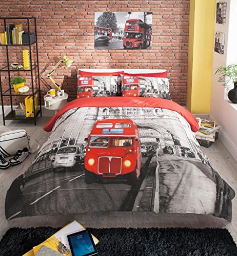 Gaveno Cavailia Luxury Premium London Bus Modern Printed Duvet Set with Cover And Pillow Case, Double