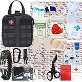 GRULLIN Kit di Sopravvivenza di Pronto Soccorso, 342 Pezzi Molle tattico Custodia IFAK Kit di Emergenza all'aperto Home Office Auto Escursionismo Caccia Campeggio Avventura(Nero)