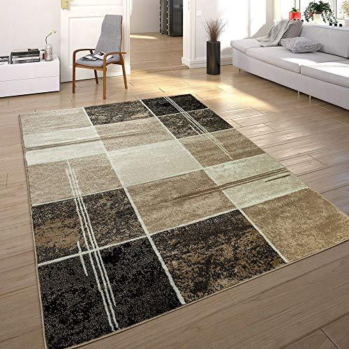 Paco Home Tapis De Créateur Contemporain à Carreaux Marbré en Marron Beige Noir, Dimension:160x220 cm