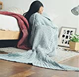 kemai manta de punto con forma de cola de sirena para cama y sofá. Saco de dormir para todas las estaciones, azul, 90_x_180_cm