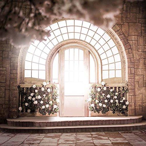 Gewölbte Fenster, Wand (Innen Foto Hintergrund Hochzeit Bokeh Blüten Weiß Blumen Bedruckt Brick Wand gewölbte Fenster Holz Tür Fotografie Studio Hintergründen 10x Ladekabel)
