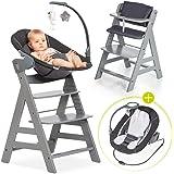 Hauck Alpha Plus Newborn Set Deluxe - dziecięce wysokie krzesło z drewna od urodzenia z funkcją leżenia - w zestawie nakładka