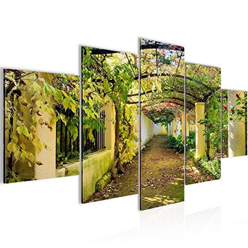 Bilder Garten Natur Wandbild Vlies - Leinwand Bild XXL Format Wandbilder Wohnzimmer Wohnung Deko Kunstdrucke Grün 5 Teilig - MADE IN GERMANY - Fertig zum Aufhängen 609252a