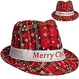 Unbekannt 2 Stück _ Weihnachtshüte - Merry Christmas - Hut universal Größe - Kinder & Erwachsene - Fedora / Trilby - Mütze Weihnachtsmützen Weihnachtsmann - Elf - cool ..