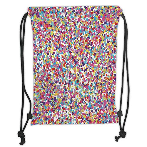 Abstract Multi Color (Juzijiang Drawstring Sack Backpacks Bags,Fiesta,Round Rainbow Colored Confetti Pattern Celebratory Festive Illustration Abstract,Multicolor Soft Satin Closure,5 Liter Capacity,Adjustable.)