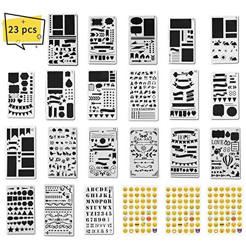 XCOZU Schablonen Bullet Journal, 20 Stück Schablone Set und 3 Stück Emoji Stencil für Alphabet Bullet Journal Supplies,Scrapbook Zubehör,Wiederverwendbar Buchstaben und Nummer Schablone,4x7 Inches -