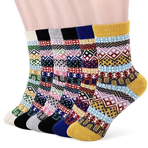 Tencoz Calcetines de Lana 6 Pares Calcetines Mujer Calcetines de Invierno Cálidos de Confort Calcetines Termicos Mujer Vintage Calcetines de Lana Gruesa de Invierno EU 35~42