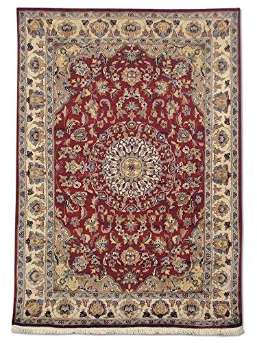 Kashan Roten Teppich (Pak Persian Rugs Handgeknüpfter Kashan Teppich, Rot/Weinrot, Wool/Art. Silk, Small, 123 X 172 cm)