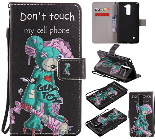 Nancen LG G Stylo 2 / LG Stylus 2 / LS775 K520 Hülle/Handyhülle, Painted Persönlichkeit PU Leder Tasche Schutzhülle Case Lederhülle Flip Cover mit Standfunktion [Don't Touch My Cell Phone]