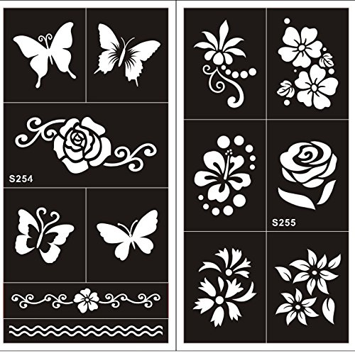 TATTOO Schablone Schmetterlinge Blumen Designs zur einmaligen Verwendung S254 255 für Arm Schulter Bein Fuss Körper