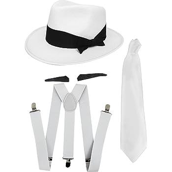 Ilovefancydress - Set di accessori per costume da gangster anni  20 da uomo  composto da cravatta bianca + bretelle bianche + cappello tipo trilby bianco 9e7c7545166d