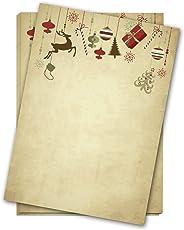 50 Blatt Briefpapier Weihnachten / A4 / beidseitig/Hängende Geschenke und Deko Vintage/für Briefe, Aktionen, Einladung, Speisekarte zur Weihnachtszeit