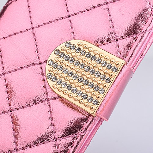 iPhone 6 Plus / 6s Plus Coque, SsHhUu Luxe Bling brillant Premium PU Cuir Bling diamant bouton Pochette Stand Flip Protecteur Étui Housse Case Cover pour iPhone 6 Plus / 6s Plus (5.5 pouce) Or Rose