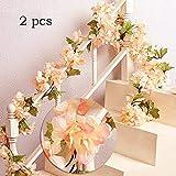 MZMing Garland 2 Stück x 235cm Künstliche Blume Rattan Dekoration Hochzeit Hausgarten Party Kranz Simulation Seidenblume Vine Simulation Dekoration-Champagner