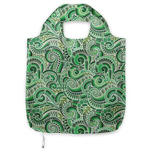 ABAKUHAUS asiatisch Tragetasche aus Stoff, Klassische Retro Mehendi, Praktische Altagsmode Einkaufstaschen, Grün Schwarz -
