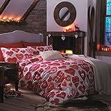 Catherine Lansfield Hearts - Juego de funda nórdica para cama de 150 cm, color rojo