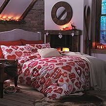 Catherine Lansfield Hearts - Juego de funda nórdica para cama de 105 cm