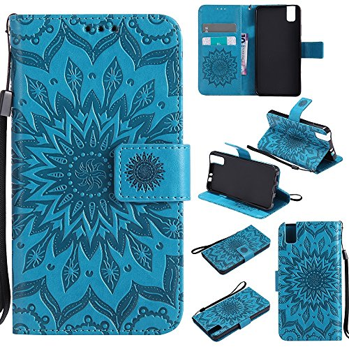 Für Huawei Hornor 7i Fall, Prägen Sonnenblume Magnetic Pattern Premium Soft PU Leder Brieftasche Stand Case Cover mit Lanyard & Halter & Card Slots ( Color : Gray ) Blue
