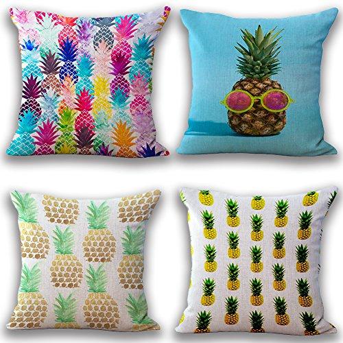 JOTOM Weiche Baumwolle Leinen Kissenbezüge Startseite Dekorative Kissen Fall 45 x 45cm Set von 4 (Ananas) -