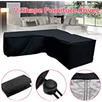 Corner Furniture Cover, L/V Shape Waterproof Anti-UV Sofa Couch Cover w/Drawstring Rope & Air Vents, Lightweight Polyester Garden Sunscreen for Outdoor Patio Furniture Sofa Rattan