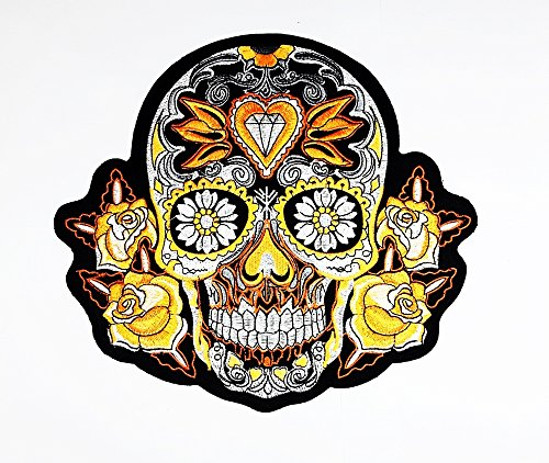 rabana XXL Skull Diamond Eye Rose Lotus Motorrad Biker MC Club Patch für DIY Bone Ghost Hog Outlaw Hot Rod Motorräder Rider Lady Biker Jacket T Shirt Patch Sew Iron on gesticktes Badge Schild Kostüm (Diamant-motorrad-shirt)