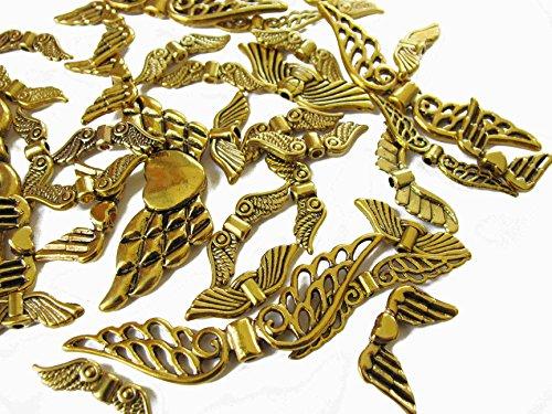 Gold Engelsflügel Kostüm - 10, 20, 50 o. 100 Metallflügel