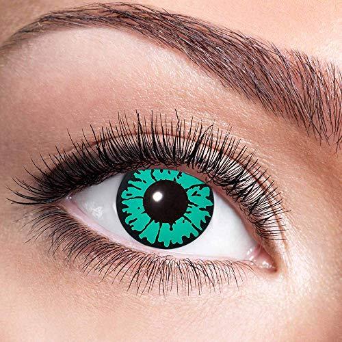 Alsino Farbige Kontaktlinsen Wochenlinsen 1 Paar Bunt Gruselig ohne Stärke für Mottopartys Halloween Fastnacht Karneval Fasching Kostüm Accessoire, (w11) Reptil