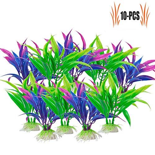 Legendog Wasserpflanzen Set, 10 Bunde Wasserpflanzen | Künstliche Wasserpflanzen | Aquarium-Dekorationen | Haus Dekoration | Lila und Grün -