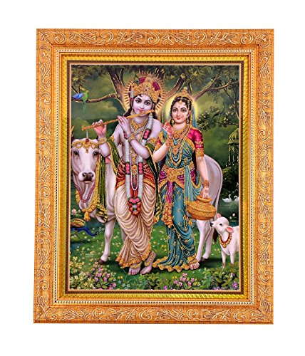 Bm Traders Golden Zari Work Photo of Radha-Krishna With Gloden Frame