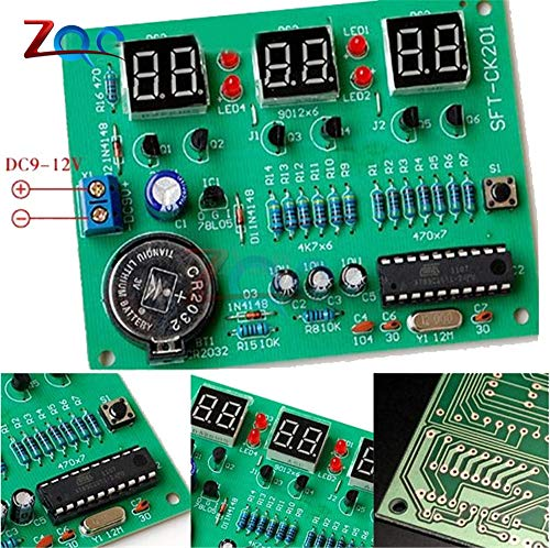 DIY-Kits AT89C2051 elektronische Uhr Digital Tube LED Display Suite elektronische Modul Teile und Komponenten DC 9V-12V