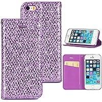 Kucosy Carcasa para iPhone se, Teléfono móvil para iPhone 5S, Purpurina Carcasa para iPhone 5, Color Morado
