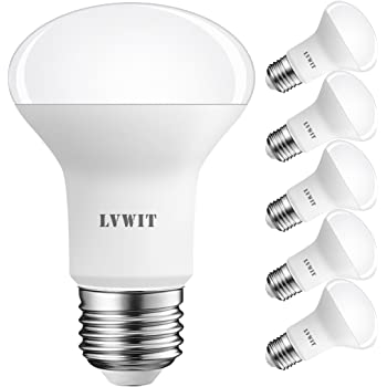 LVWIT Bombillas Reflectora LED E27 (Casquillo Gordo) - 8.5W equivalente a 60W, 550 lúmenes, Color blanco cálido 2700K, No regulable - Pack de 6 Unidades.