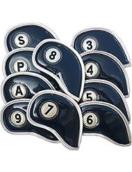 Tête de Golf Club de golf Fer Couvre, Lot de 10housses Tête Sport Housse de protection en cuir PU avec surface miroir en cristal