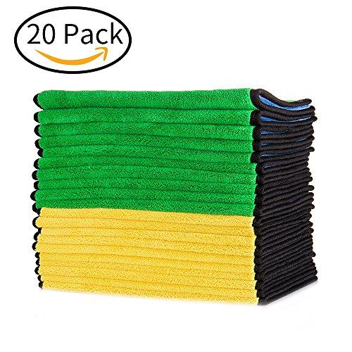 Mr.Ho Profiqualität 840gsm mikrofaser Reinigungstücher extrem saugstark und fusselfrei mit Seidenband Eingefasst Auto Trockentuch - 20 Pack -