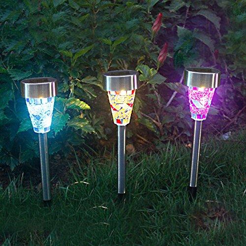 Petit Lot de 3 solaire mosaïque Limitation Piquet de jardin lumières Solarleuchten-2