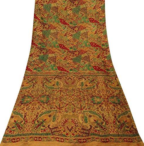 Sari Aus Reiner Seide (Vintage indische orange reiner Seide Saree mit Blumenmuster-Gewebe-Fertigkeit Sari 5 YD)