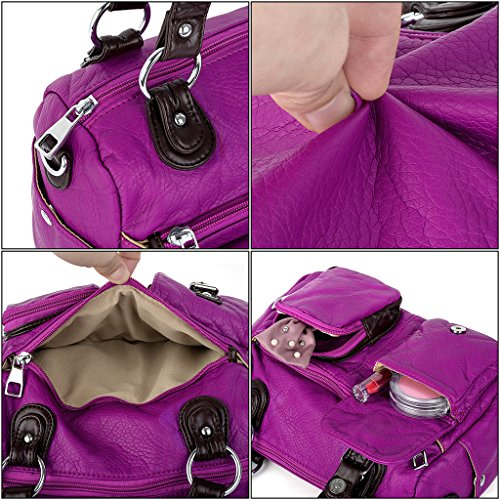 UTO Donna Borsa Medio Lavato Pelle Sintetica Stile Cintura Accento Borse a Tracolla Black Viola