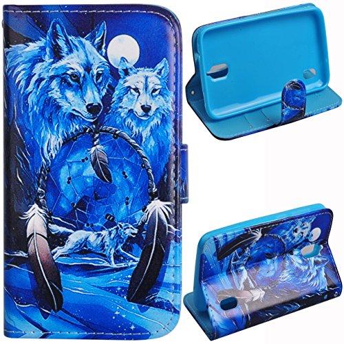 Voguecase® für Huawei Y625, Kunstleder Tasche PU Schutzhülle Tasche Leder Brieftasche Hülle Case Cover (Weiß Wolf) + Gratis Universal Eingabestift