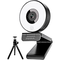 1080P Webcam mit Ringlicht und Stativ, papalook PA552 Full HD-Webkamera Streaming mit Verbessertem Stereomikrofon, Plug…