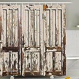 Duschvorhang wasserdicht digital print Badezimmer Decor Country Stil Holz Tür 180,3x 180,3cm, Textil, Wood Door, Without Hook