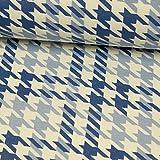 Stoffe Werning Beschichteter Baumwollstoff Hahnentritt Blau