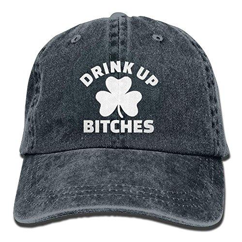 Hoswee Unisex Kappe/Baseballkappe, Drink Up Bitches with Shamrock Washed Retro Adjustable Jeans Caps Gym Caps ForAdult