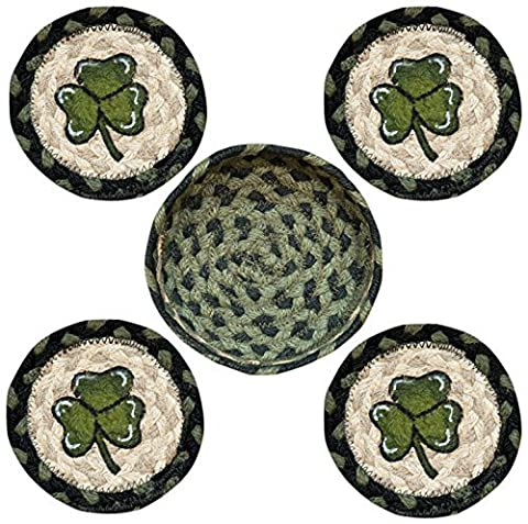 Earth Rugs 29-CB116S Shamrock Design Round Jute Basket with 4-Printed