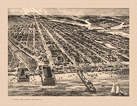 Historic Map of Asbury Park New Jersey 1910 Monmouth County Fine Art Print (60.96 x 91.44 cm)
