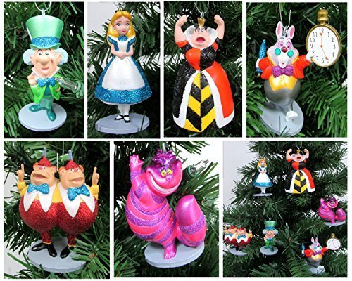 Alice in Wonderland 6 Piece Christmas Tree Ornament Set Featuring Alice, White Rabbit, Cheshire Cat, Queen of Hearts, Mad Hatter, and Tweedle Dum & Tweedle Dee - Shatterproof Design 3 to 4 Tall (Cheshire Cat Und Mad Hatter)