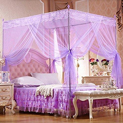 Lila Einzelbett (Bluelans® Baldachin Moskitonetz InsektenschutzFliegennetz Mückennetz für Doppelbetten und Einzelbetten (150*200cm, Lila))