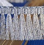Luxus Exklusive Borten Metallisiertes Zierband Fransen Dekoband Lurex-Silber 50 mm breit